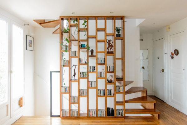 escalier bibliotheque sur mesure rénovation paris ile de france